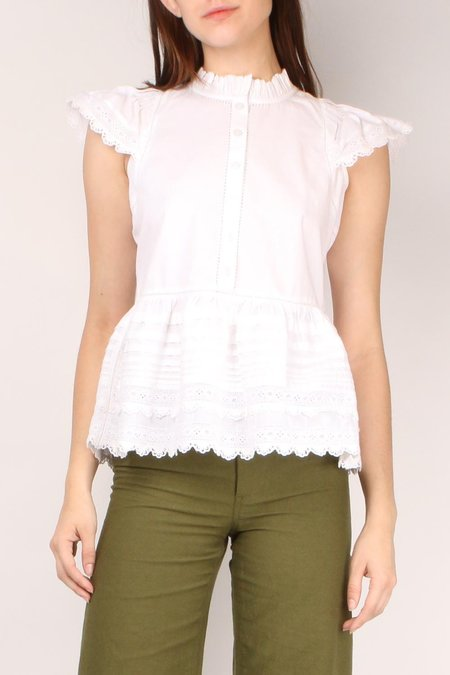 Sea NY Lilli Eyelet Flutter Sleeve Top - White