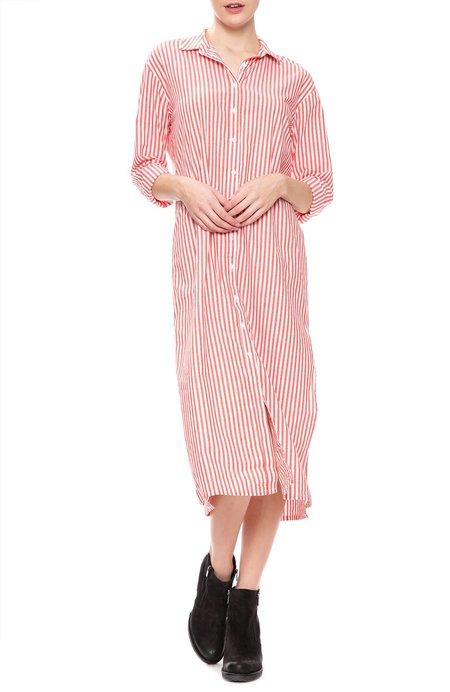 Stateside Oxford Long Shirt Dress - Coral Stripe