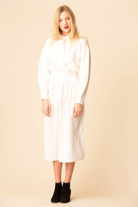 Tibi Heavy Nylon Shirred Waistband Full Skirt