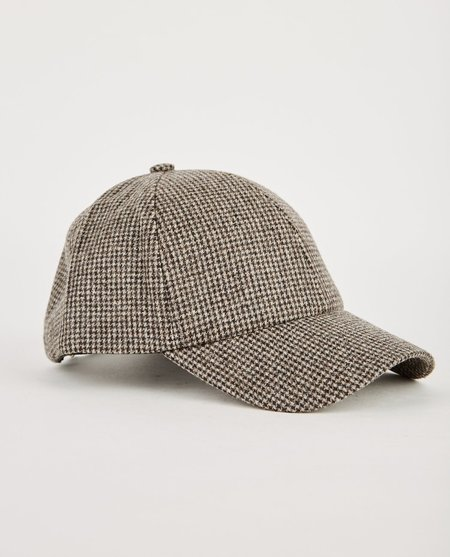DON PARIS HOUNDSTOOTH CHECK WOOL CAP - GREY/BROWN