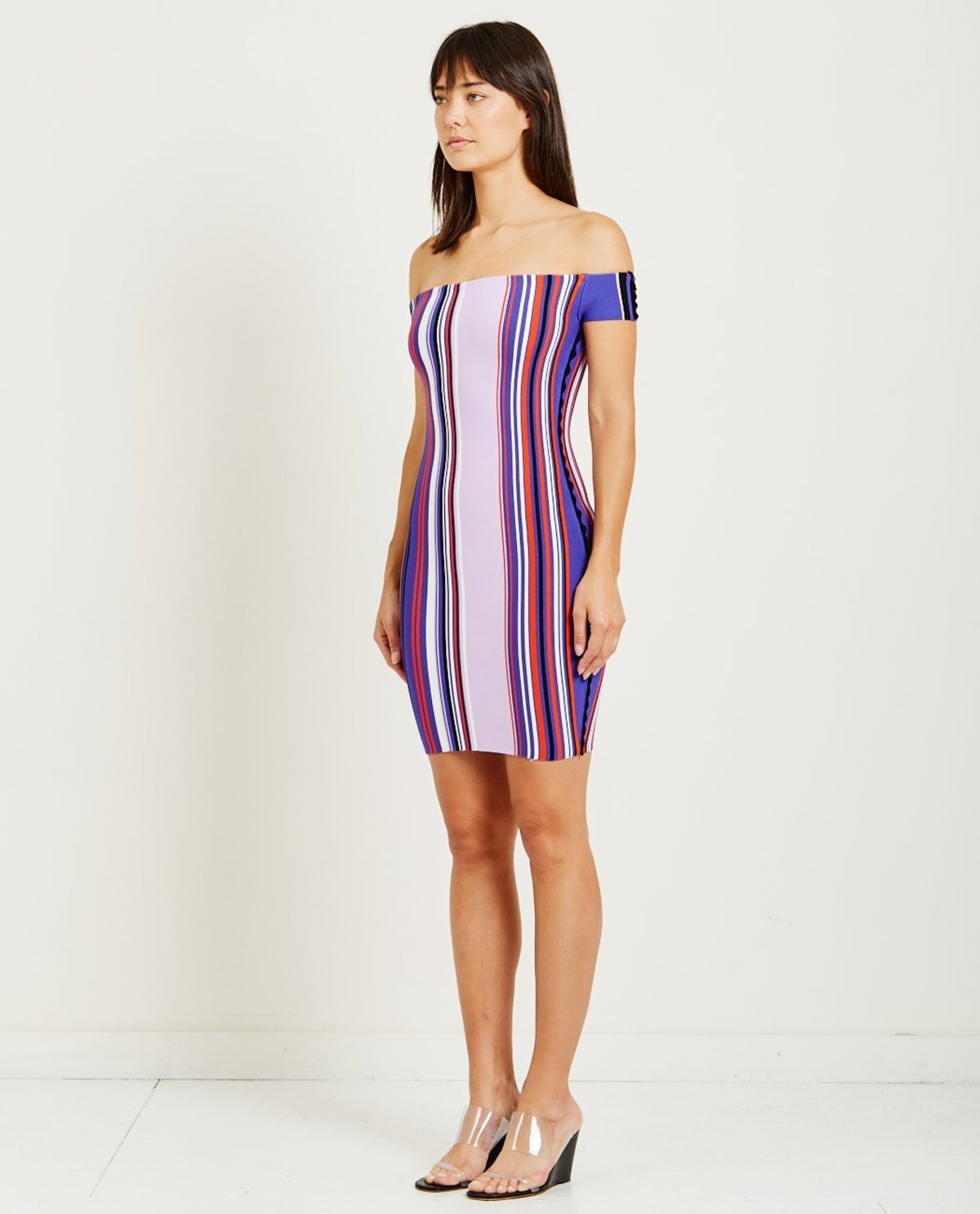 fcc375bb2e7b Opening Ceremony STRIPED OFF THE SHOULDER DRESS - PURPLE