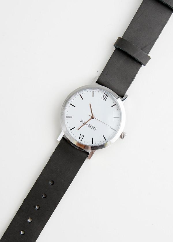 Berg + Betts Silver Round Watch in Slate Grey