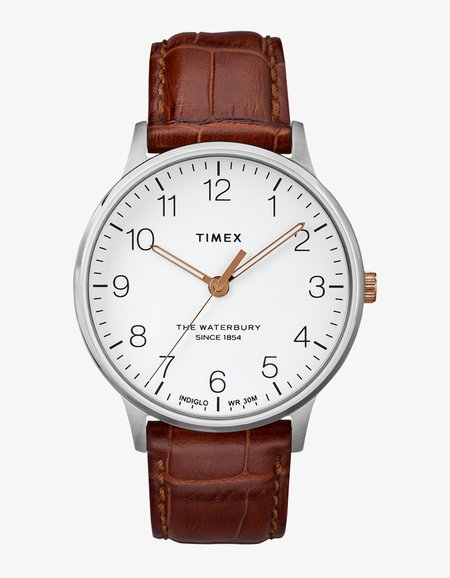 Timex Stainless Waterbury Classic 40 Watch - White/Brown