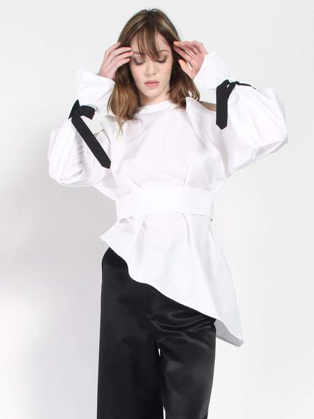 Ji Oh Cold Shoulder Peplum Shirt - White