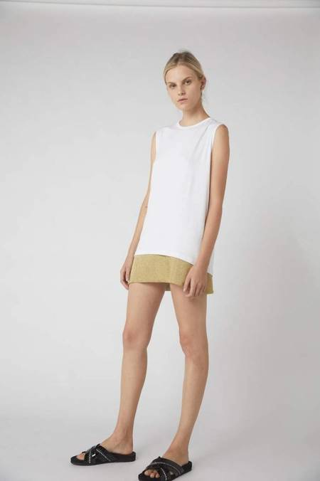 Kacey Devlin Petite Collapse Jersey Tank - WHITE