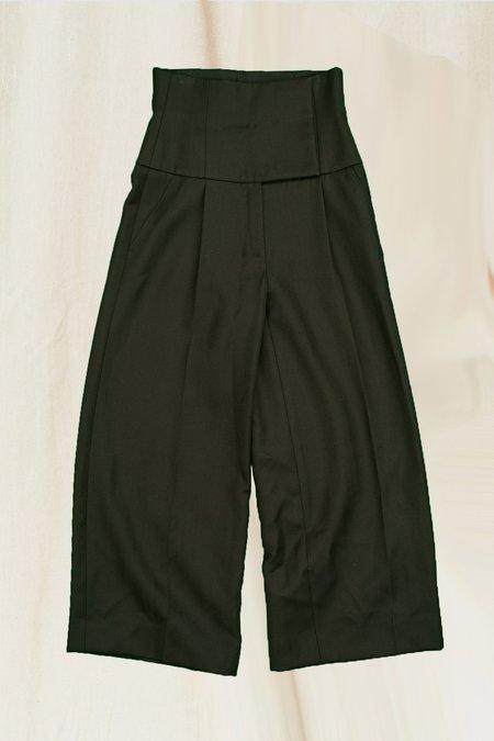 Vintage Wool Wide Leg Pant - black