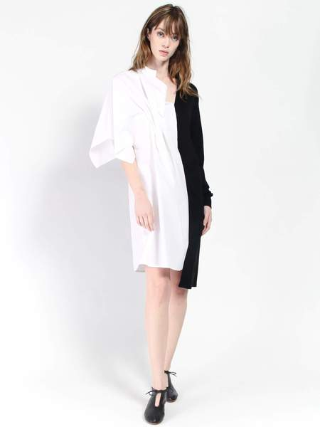 Ji Oh Half Sweater Shirt Dress - White/Black