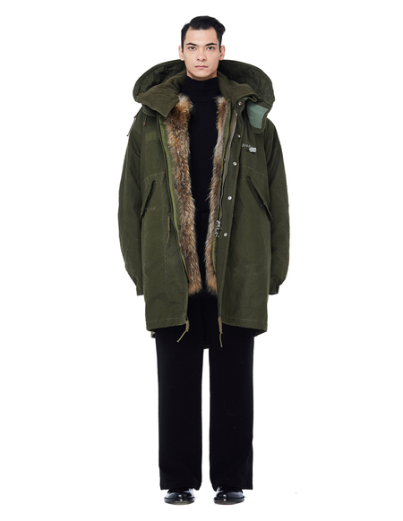 Readymade Military Parka with Fur Lining - Khaki