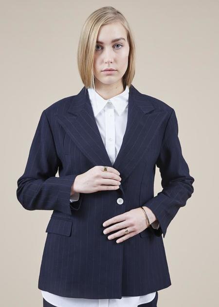 Sibel Saral Bond Single Button Blazer - navy/pinstripe