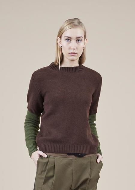 Sibel Saral Chift Double Sleeve Sweater - brown/pine