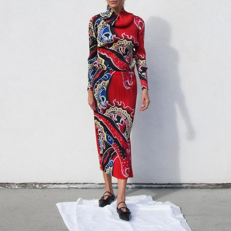 Issey Miyake Pleats Please Long Skirt -  Flame Print
