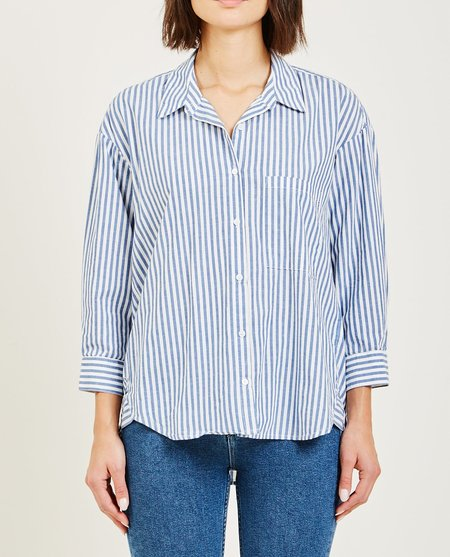 Stateside DROP LONG SLEEVE BUTTON DOWN NAUTICAL STRIPE - NAVY