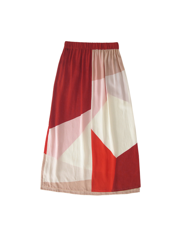 ALI GOLDEN MIDI SKIRT - REDS