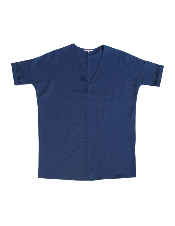 ALI GOLDEN SILK/LINEN KIMONO TUNIC - BLUE