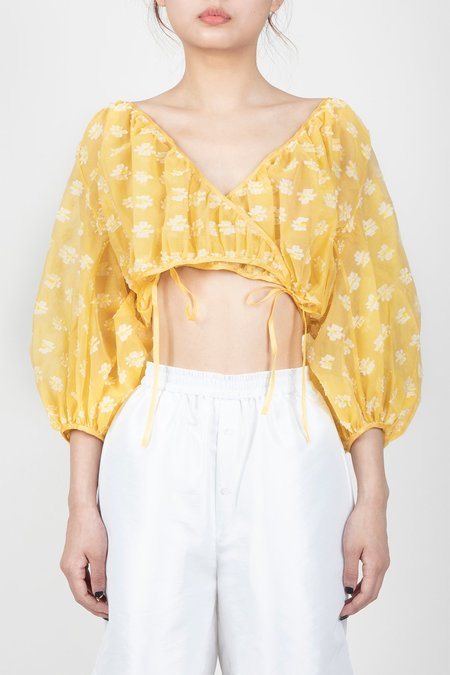 Cecilie Bahnsen Puff Sleeved Wrap Top - White/Yellow