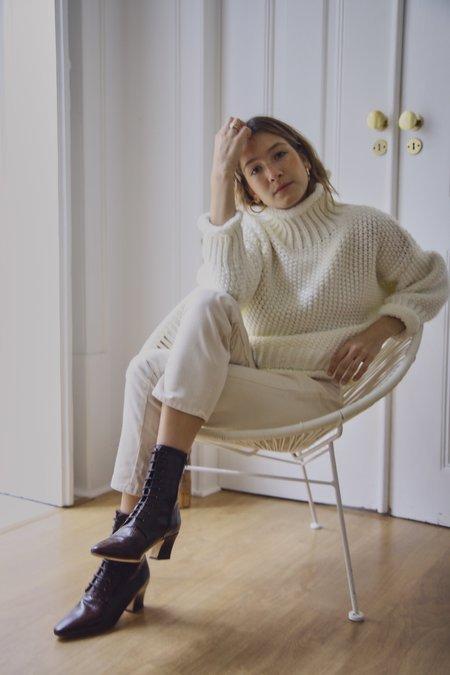 Yuka Paris Stella Ivory Waffle Knit - WHITE