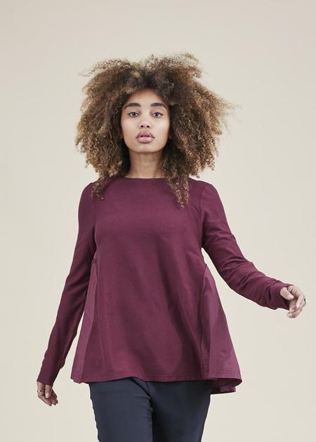 Hannes Roether Residency Romee Ruffle-Back Shirt - sangria