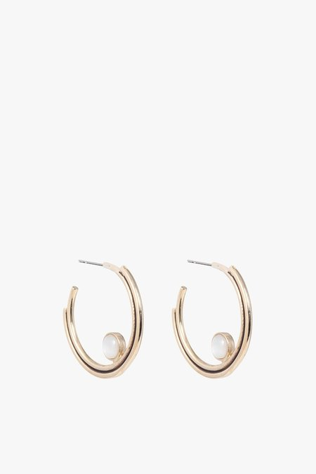 Artifacts Mother of Pearl Arc Hoop Earrings P - Brass