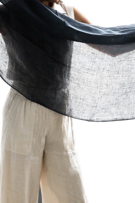 Variously Charcoal Linen Scarf - CHARCOAL