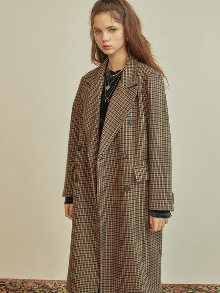 Anedit R Check Double Coat - Brown