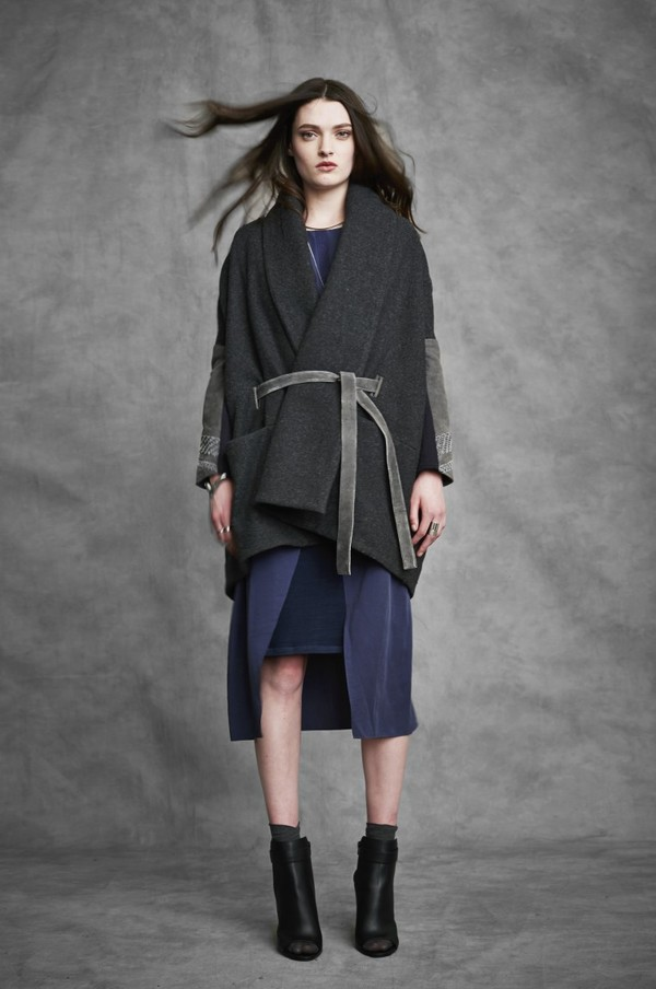 Laura Siegel Wool Wrap Coat with Leather Sleeves