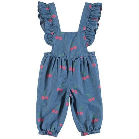 KIDS Stella McCartney Baby Chambray Overalls - Cherry Print Blue