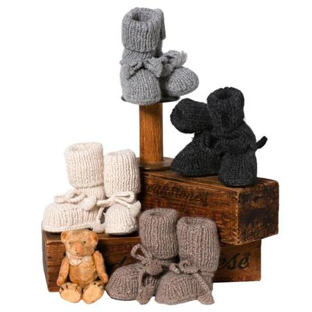 KIDS Tane Organics Alpaca Sock Booties with Ties - Chestnut Grey