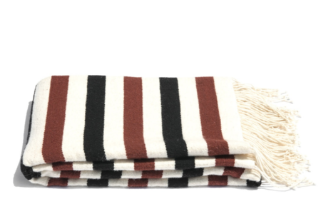 Mexchic Striped Pampa Blanket - Cream/Rust/Black
