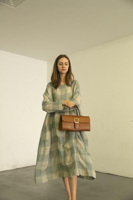 Ichi Antiquites Block Check Dress - Blue/White