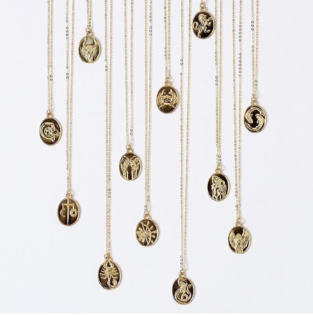 Talon Zodiac Gold Necklaces - Assorted Signs