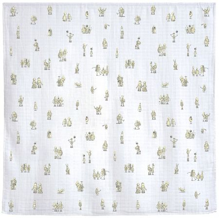 KIDS Atelier Choux Robots In Action Swaddle Blanket - WHITE
