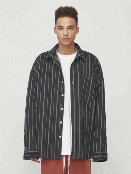 Unisex D.Prique Denim Shirt Jacket - Black Striped