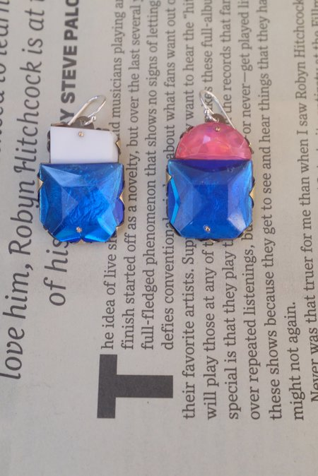Nikki Couppee Gem Earrings - Hot Pink/Blue