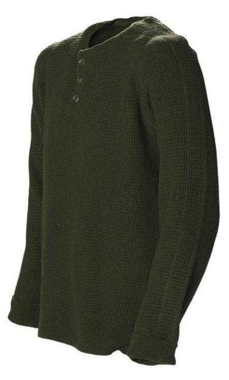 Schott NYC Wool Button Henley Sweater - Moss