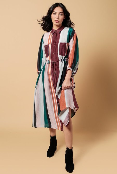 Apiece Apart Kimono Shirt Dress - Alhambra Stripe