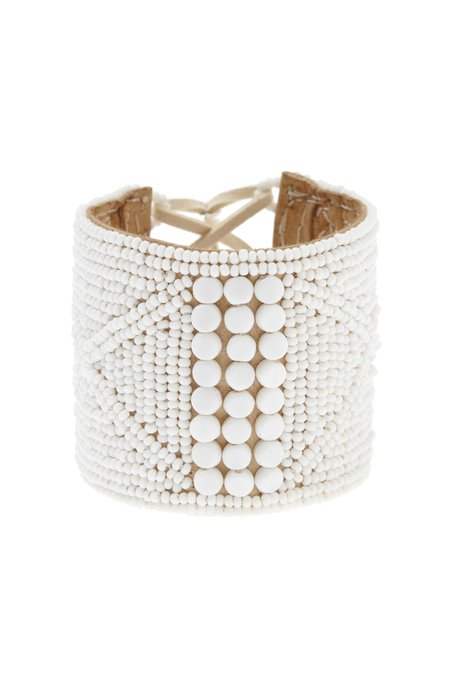 Sidai Designs Lace Up Beaded Cuff - white