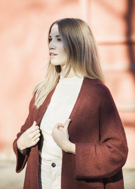 Bare Knitwear Kimono Coat - Brick