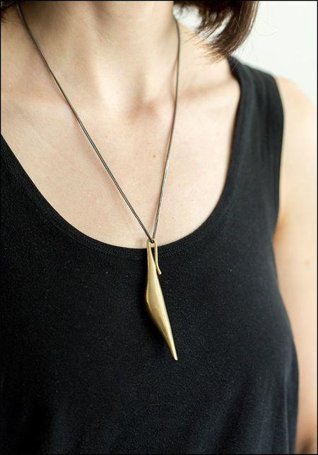 Ariana Boussard Reifel Curve Pendant Necklace - Brass