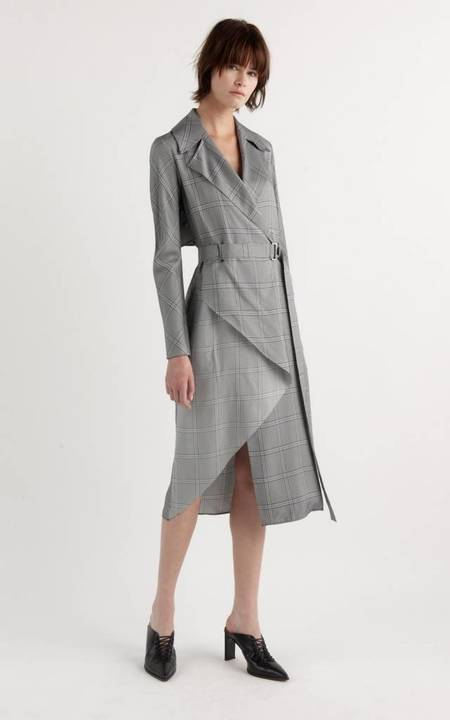 Dion Lee Check Bias Trench Dress - Navy Check