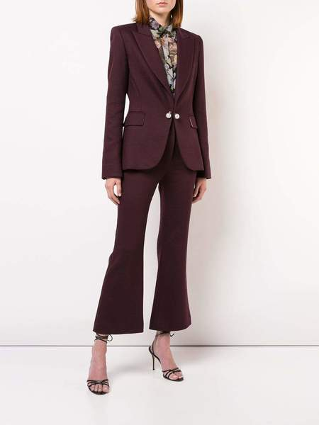 Adam Lippes Double Face Wool Tailored Blazer - Burgundy/Pink
