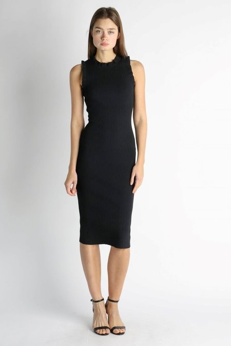Current Air Sleeveless Ruffle Knit Dress - Black