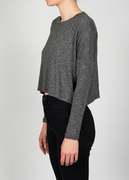 Dolan Long Sleeve Crop Top - Stone