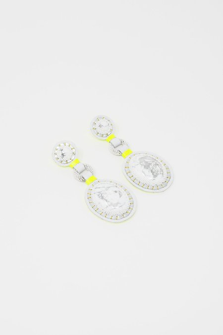 Robin Mollicone Double Stone Earrings - White Howlite/Neon