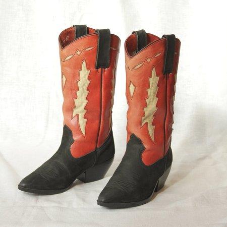 Vintage Cowboy Boots - Red/Black