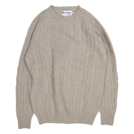 Harley of Scotland Cable Knit Crew Neck Sweater
