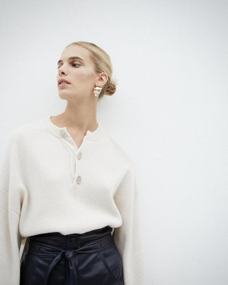 Nanushka Lione Henley Knit Sweater - Creme