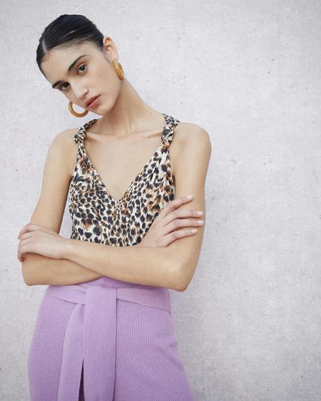 Nanushka Naif Knot Detail Stretch Bodysuit - Ocelot