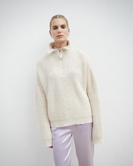 Nanushka Thursday Pearl Zip Sweater - Creme