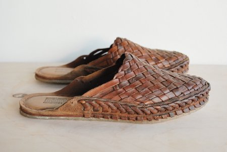 Mohinders Dark Leather Woven City Slippers - Chocolate Brown
