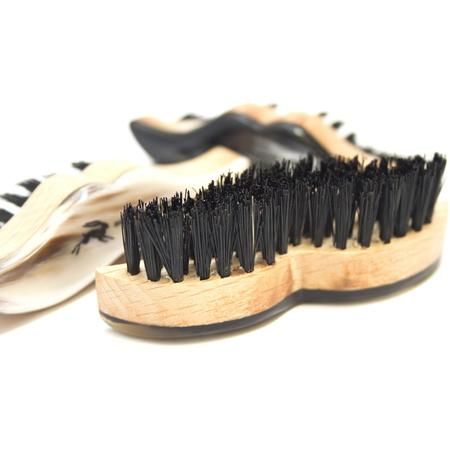 Burrows and Hare Ox Horn Topped & Boar Bristle Moustache Shaped Brush